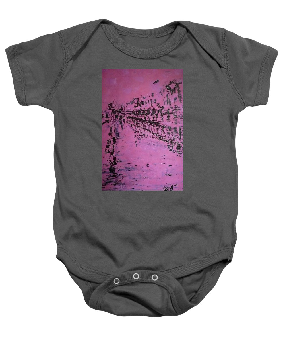 Reflection Baby Onesie featuring the painting Reflection On Rose by Ericka Herazo