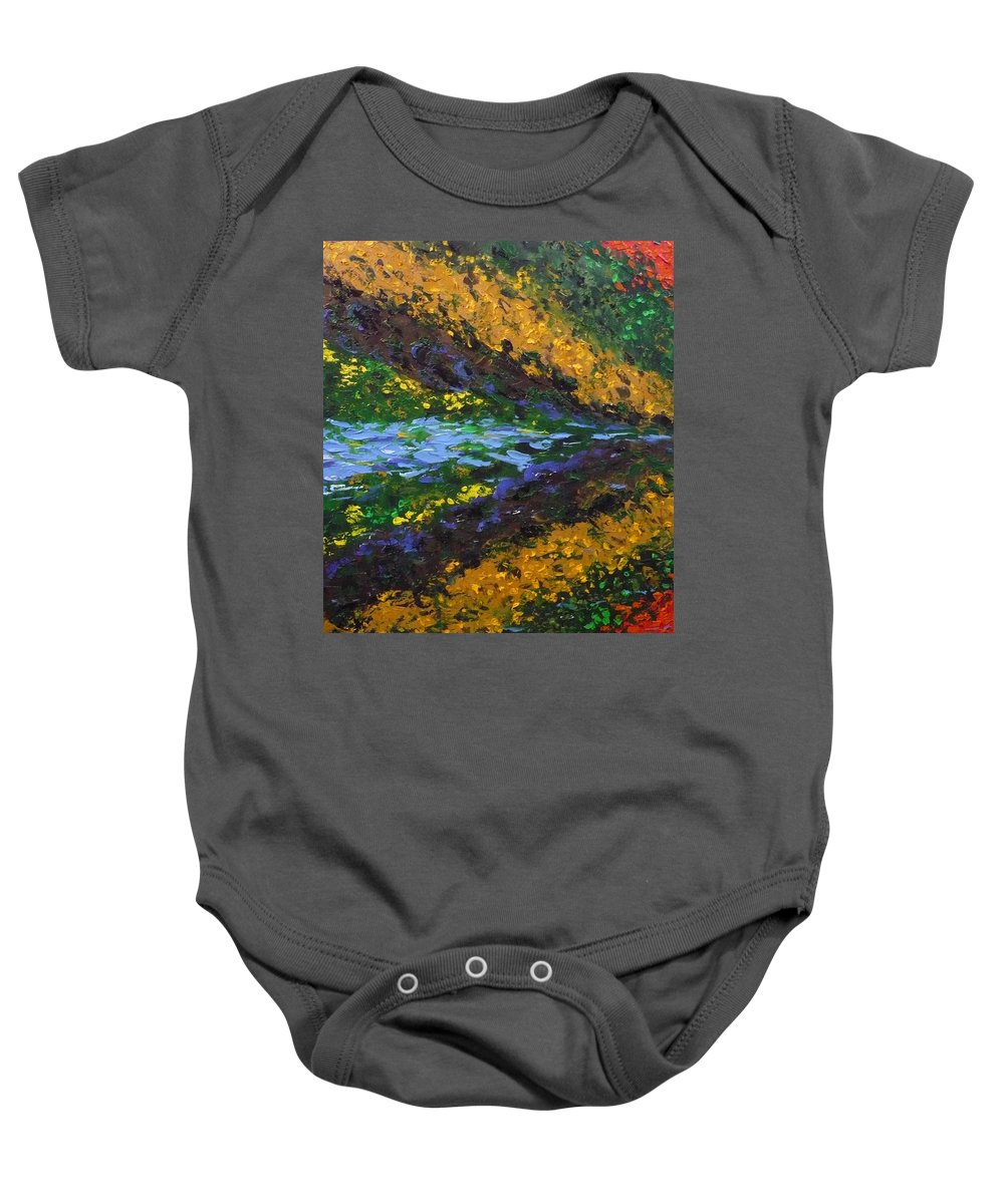 Landscape Baby Onesie featuring the painting Reflection One by Ericka Herazo