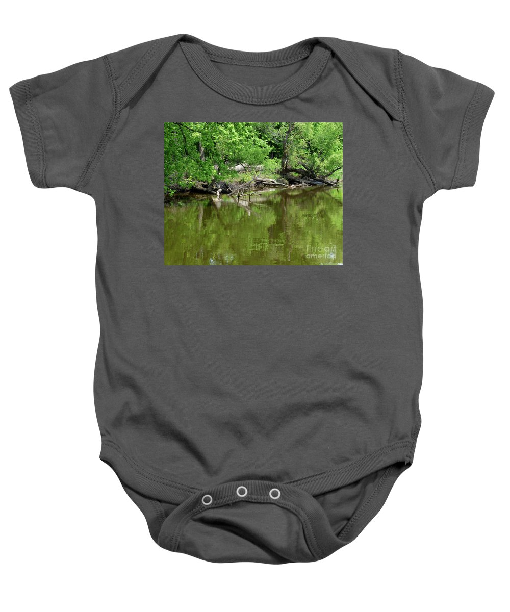 Nature Baby Onesie featuring the photograph Reflections In Green by Paula Joy Welter
