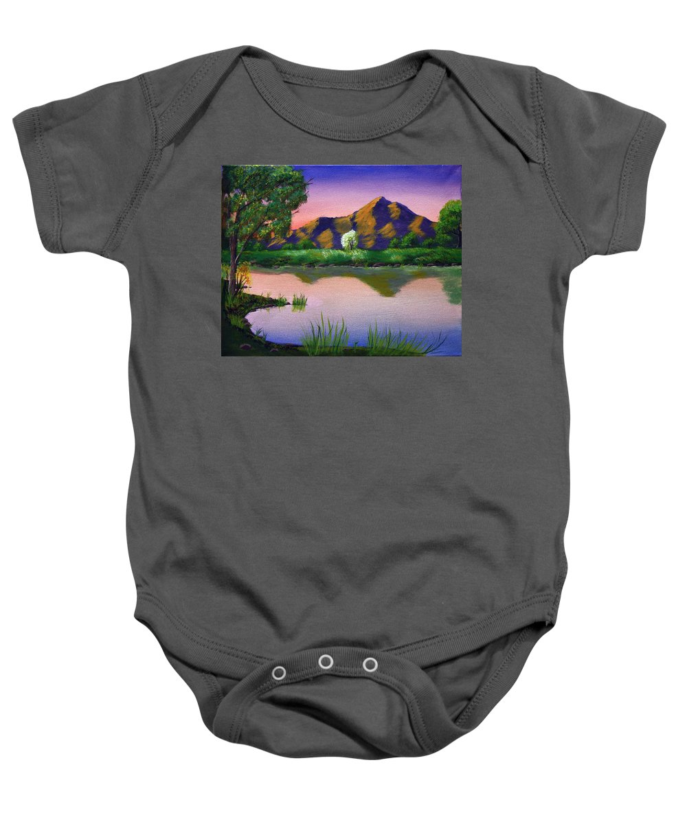 Landscape Baby Onesie featuring the painting Reflections In The Breeze by Dawn Blair
