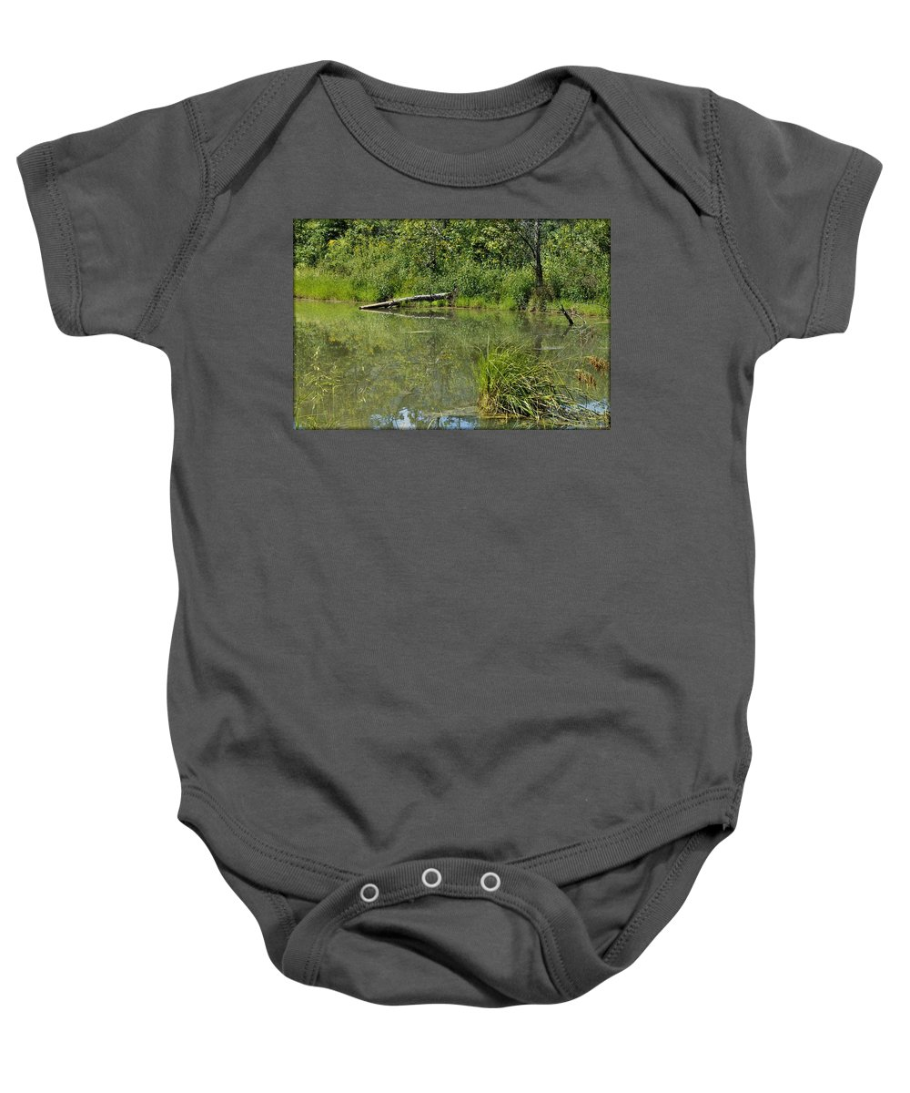 Pond Baby Onesie featuring the photograph Reflections In The Pond by Robin Ayers