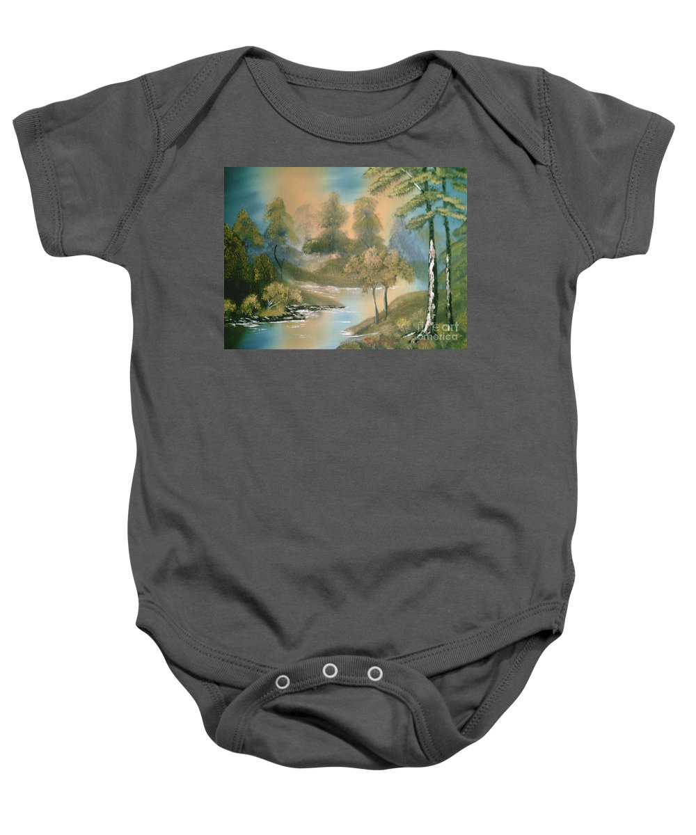 Trees Baby Onesie featuring the painting Reflections by Jim Saltis