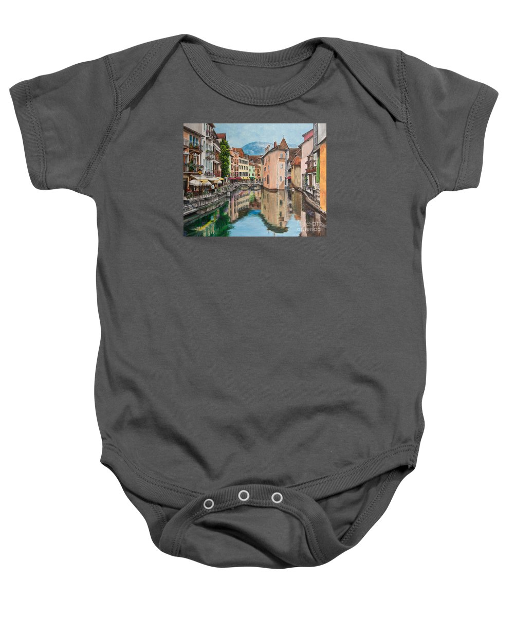 Annecy France Art Baby Onesie featuring the painting Reflections Of Annecy by Charlotte Blanchard