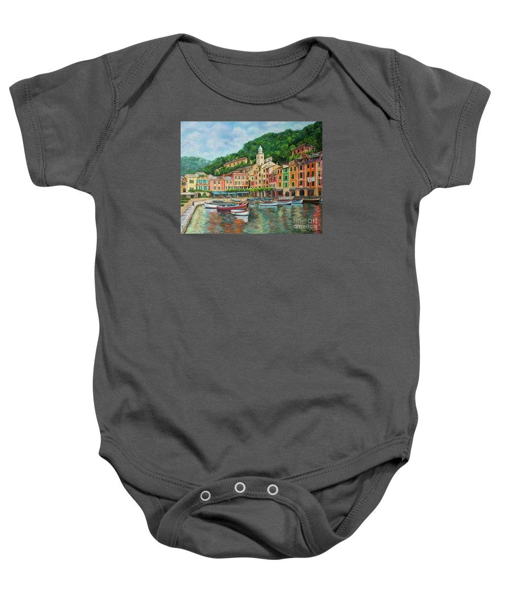 Portofino Italy Art Baby Onesie featuring the painting Reflections Of Portofino by Charlotte Blanchard