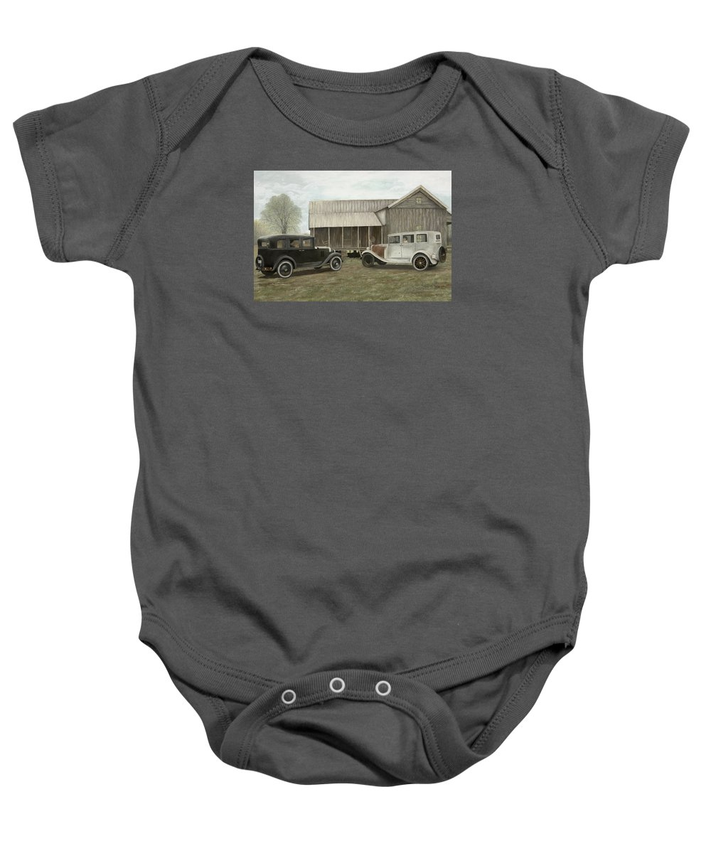 Old Cars Paintings Baby Onesie featuring the painting Reflections Of The Past by Mary Ann King