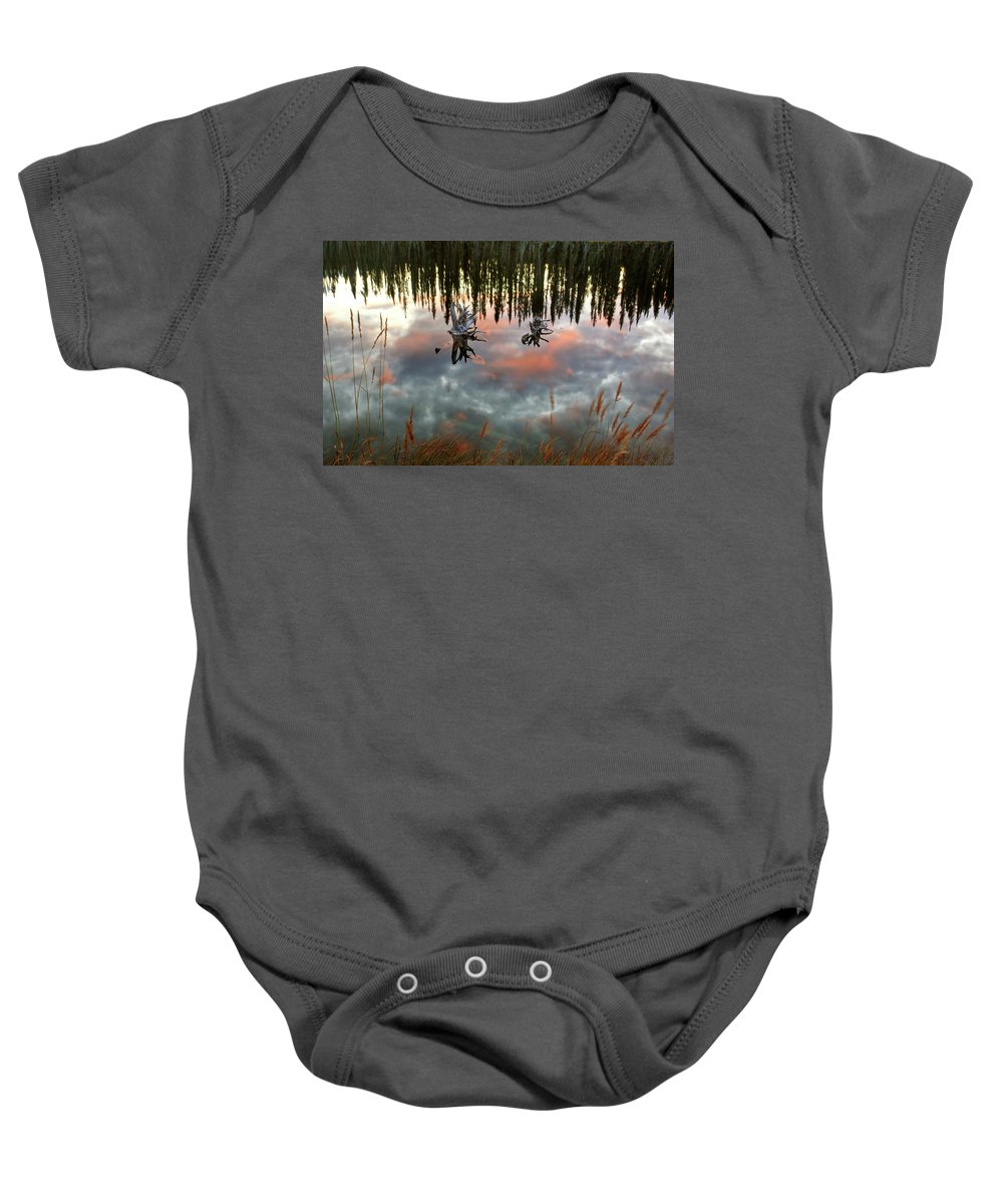 Reflection Baby Onesie featuring the digital art Reflections Off Pond In British Columbia by Mark Duffy