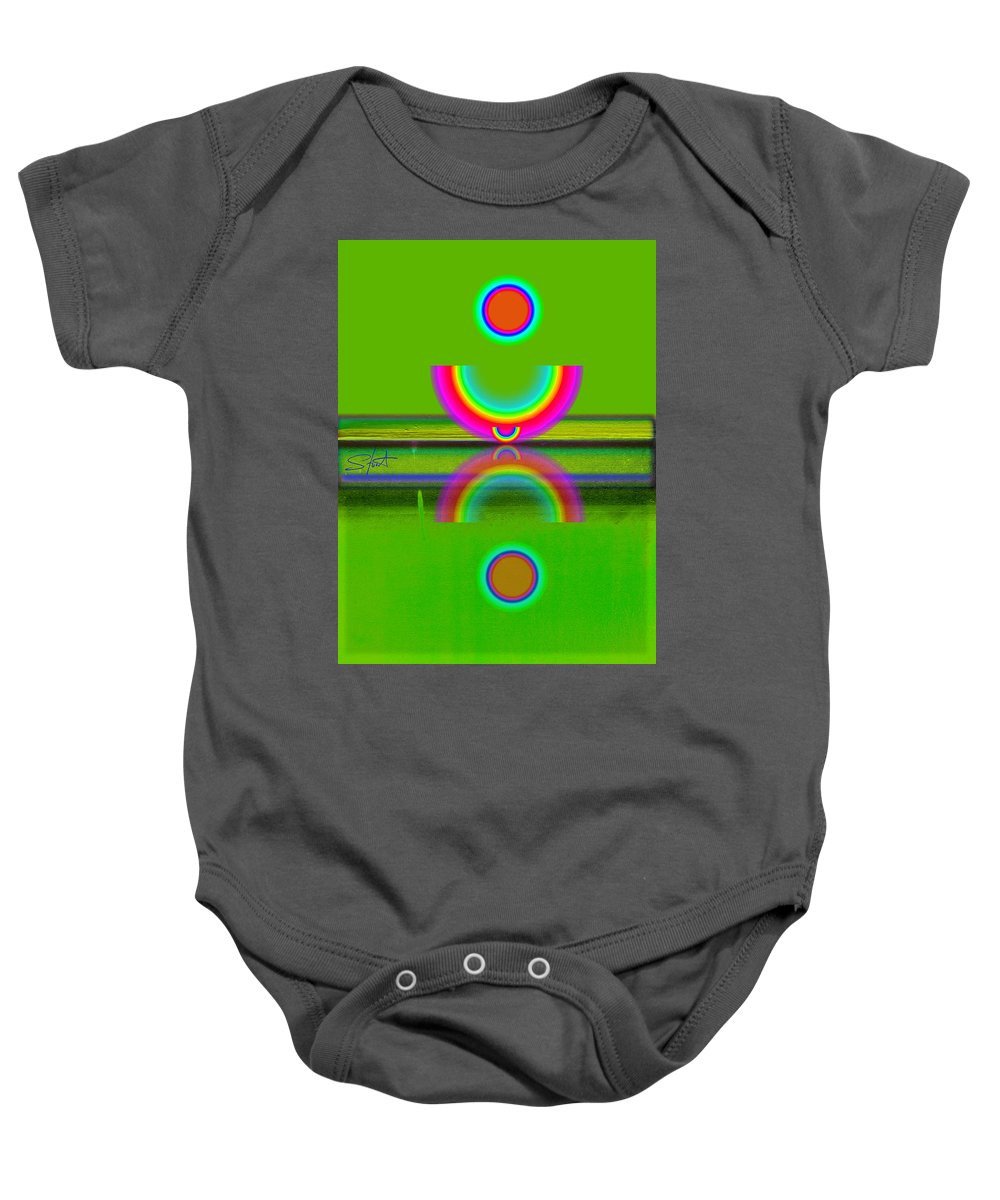 Reflections Baby Onesie featuring the painting Reflections On Lime by Charles Stuart