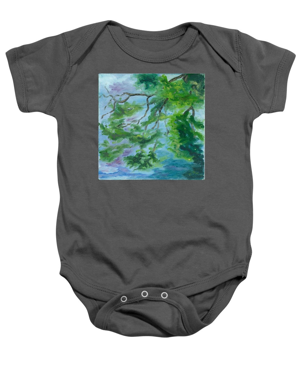 Reflections Baby Onesie featuring the painting Reflections On The Mill Pond by Paula Emery