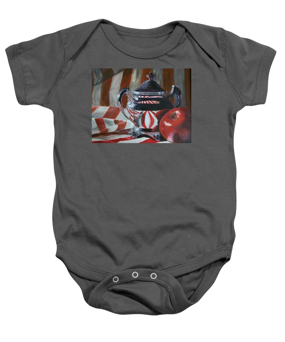 Still Life Baby Onesie featuring the painting Reflections by Stephen King