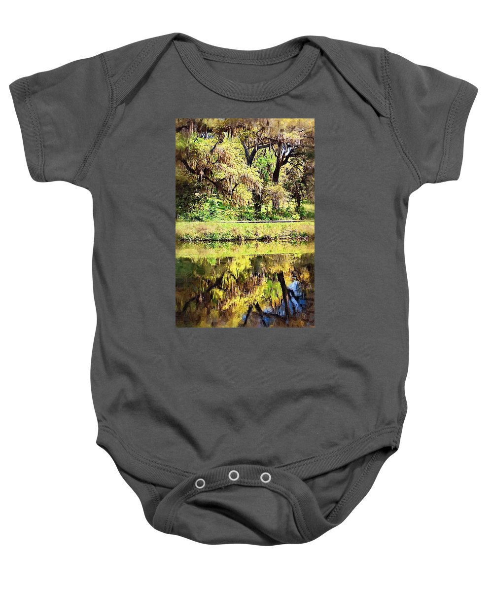 Landscape Baby Onesie featuring the photograph Reflective Live Oaks by Donna Bentley