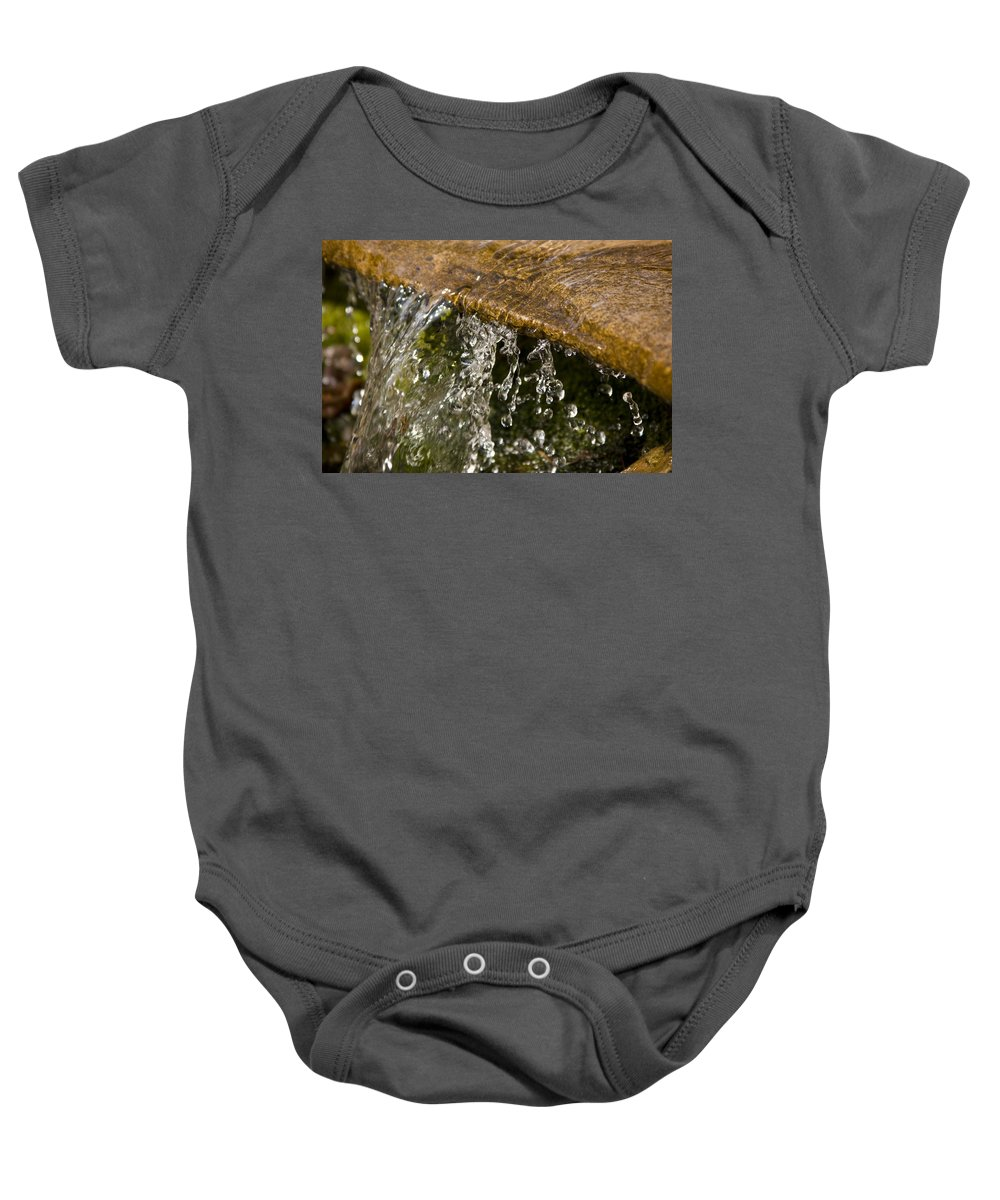 Water Stream Creek Drop Droplet Stone Run Nature Clear Cold Fall Baby Onesie featuring the photograph Refreshment by Andrei Shliakhau