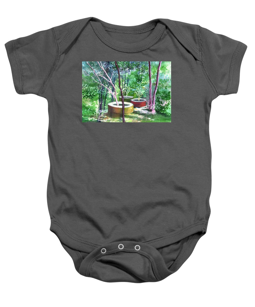 Opaque Landscape Baby Onesie featuring the painting Relax Here by Anil Nene