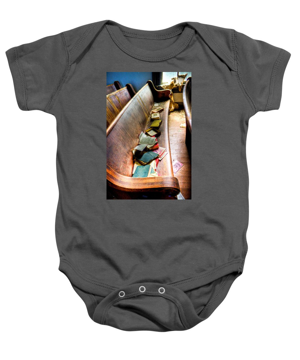 Church Baby Onesie featuring the photograph Religion Abandonded by Jonny D