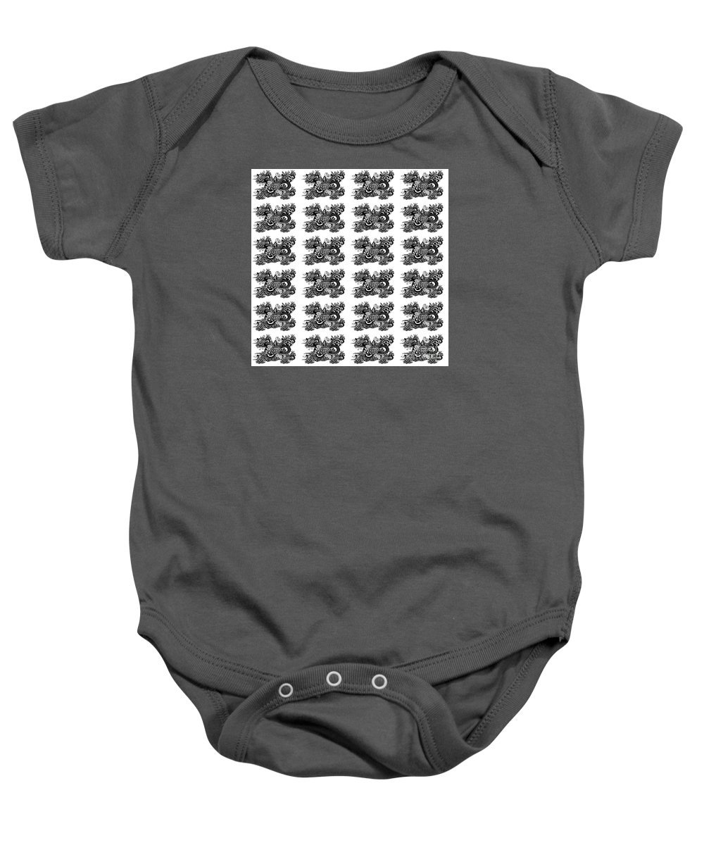 Religious Baby Onesie featuring the drawing Religious Illustration Because I Love You Black And White Pattern by Saribelle Rodriguez