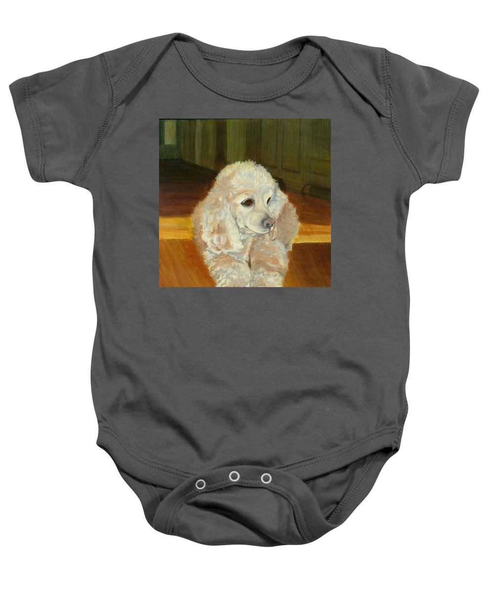 Animal Baby Onesie featuring the painting Remembering Morgan by Paula Emery