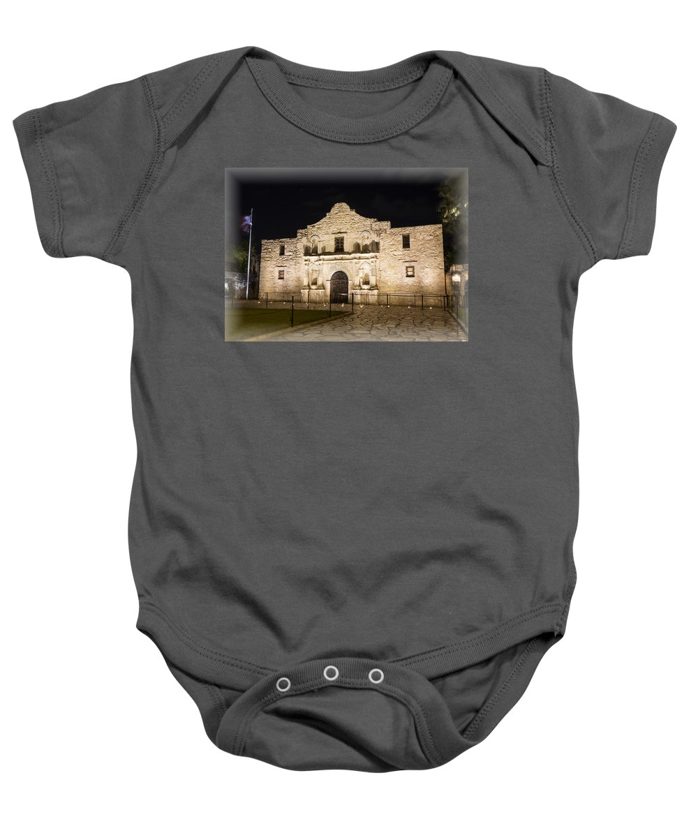Alamo Baby Onesie featuring the photograph Remembering The Alamo by Stephen Stookey