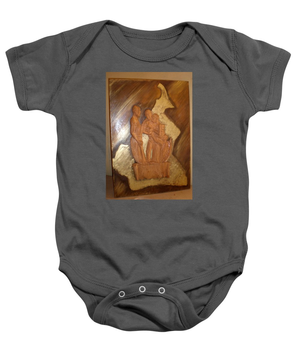 Thanks Baby Onesie featuring the sculpture Remerciements by Emmanuel Baliyanga
