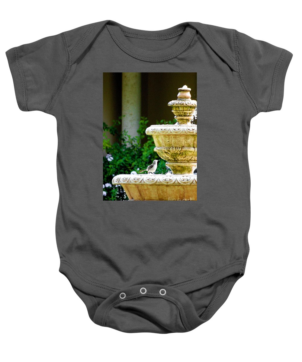 Fountain Baby Onesie featuring the photograph Reprieve In Summer by Mesa Teresita