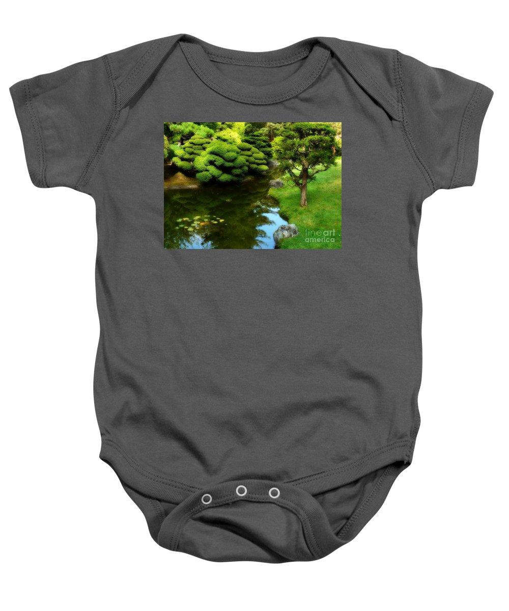 Peaceful Garden Baby Onesie featuring the photograph Rest By The Pond by Carol Groenen