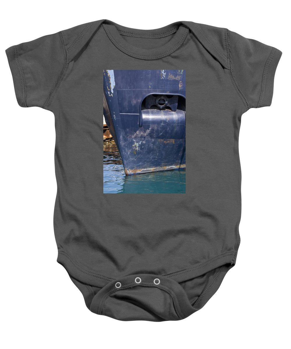 Chicago Windy City Lake Michigan Ship Boat Wave Reflection Water Steel Metal Blue Sun Sunny Baby Onesie featuring the photograph Resting by Andrei Shliakhau