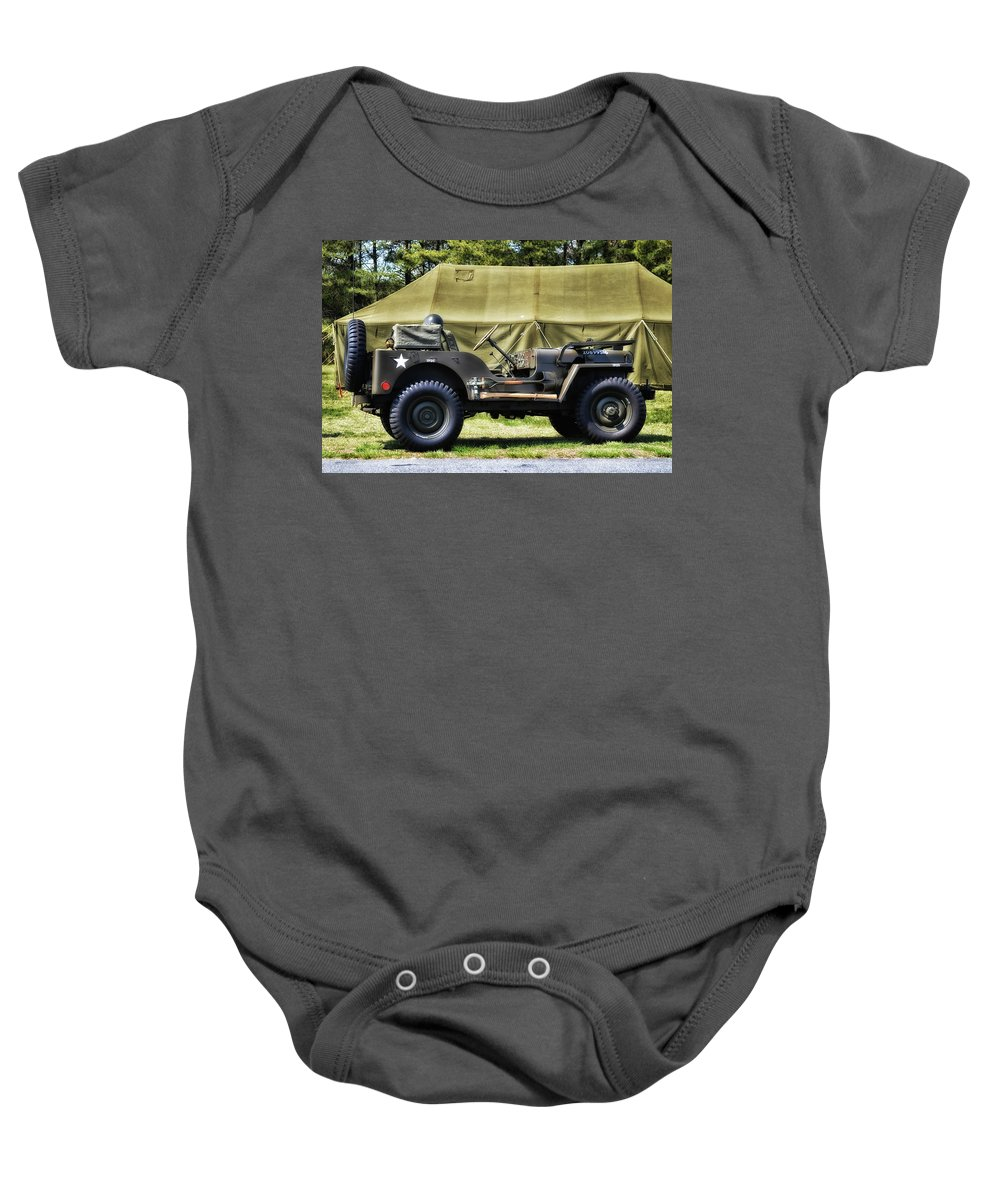 Jeep Baby Onesie featuring the photograph Restored Willys Jeep And Tent At Fort Miles by Bill Swartwout Fine Art Photography