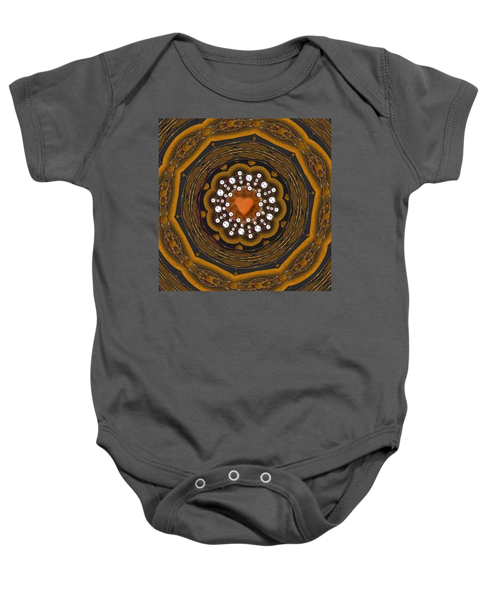 Heart Baby Onesie featuring the mixed media Retro Peace With Love And A Heart Of Gold by Pepita Selles