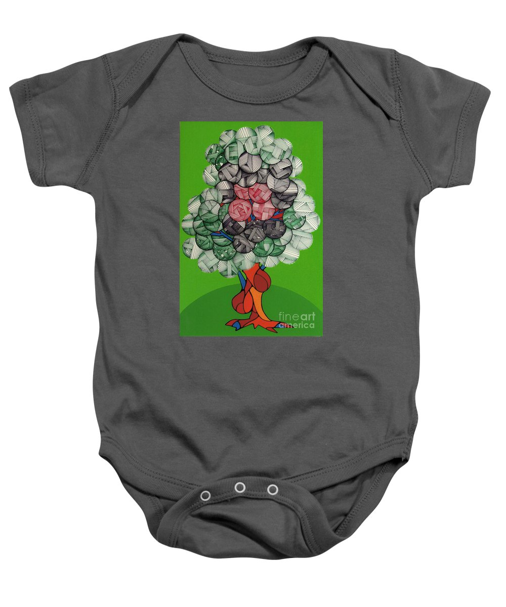 Apple Tree Baby Onesie featuring the drawing Rfb0503 by Robert F Battles