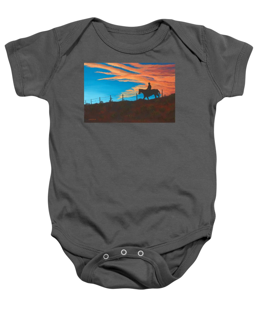 Cowboy Baby Onesie featuring the painting Riding Fence by Jerry McElroy