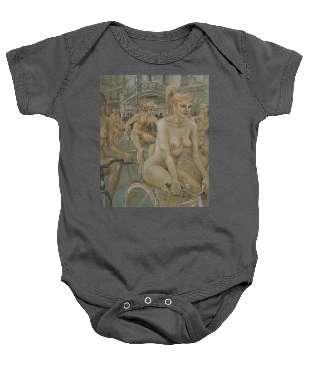 Nude In Motion Baby Onesie featuring the painting Riding Passed Burlington Arcade In June by Peregrine Roskilly