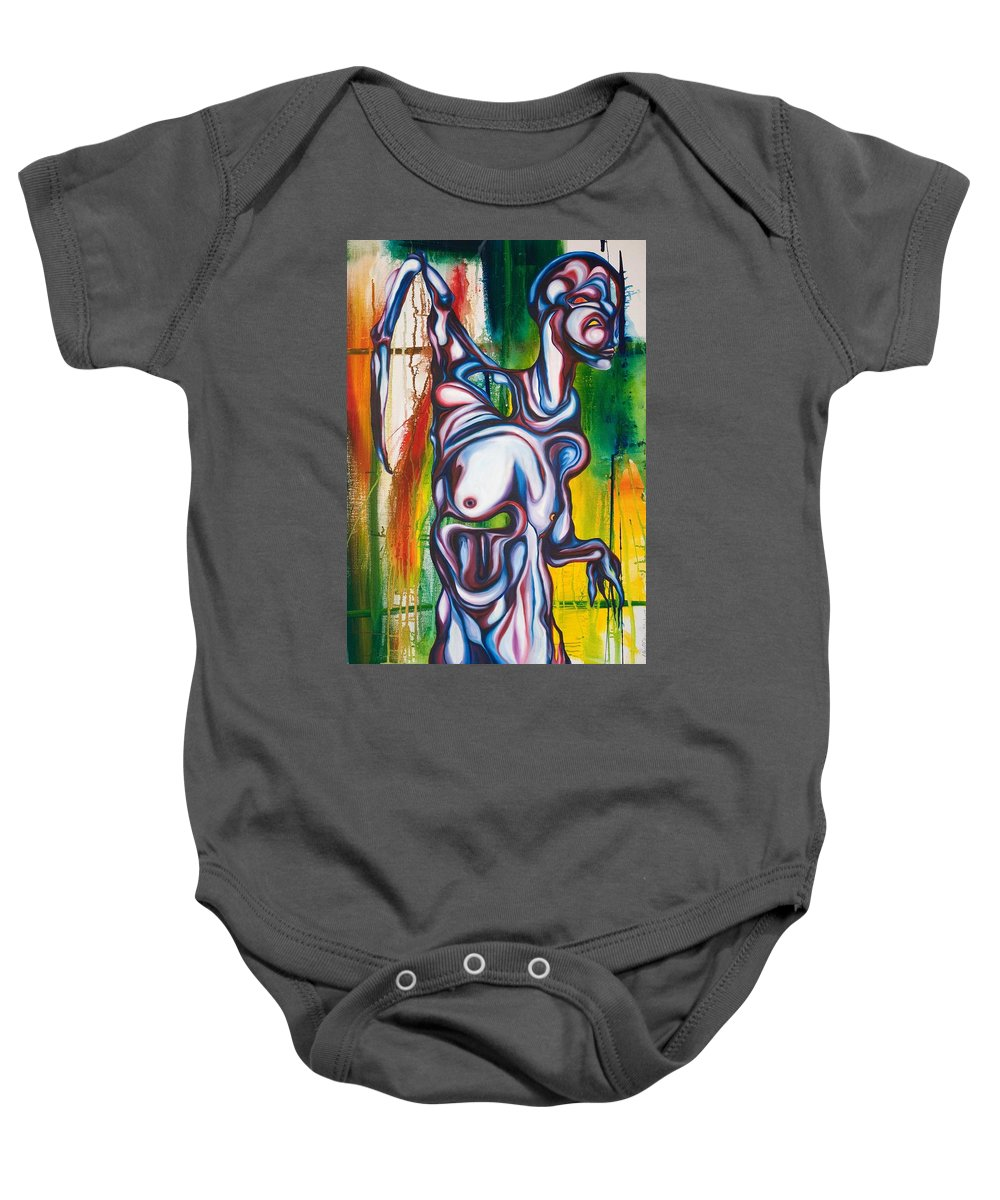 Monster Baby Onesie featuring the painting Rising Son by Sheridan Furrer