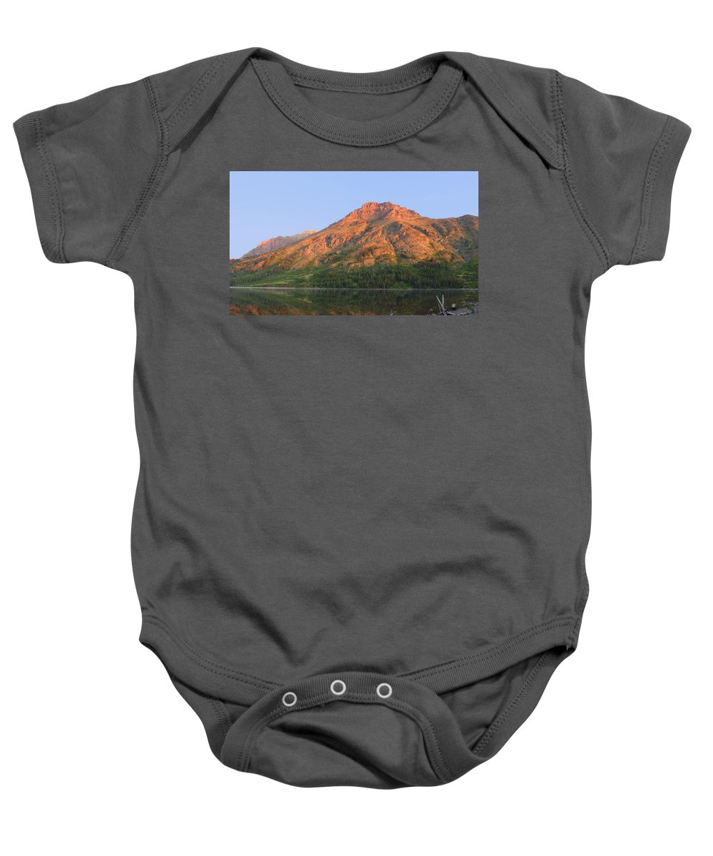 Mountain Baby Onesie featuring the photograph Rising Wolf Mountain At Dawn by Shari Jardina
