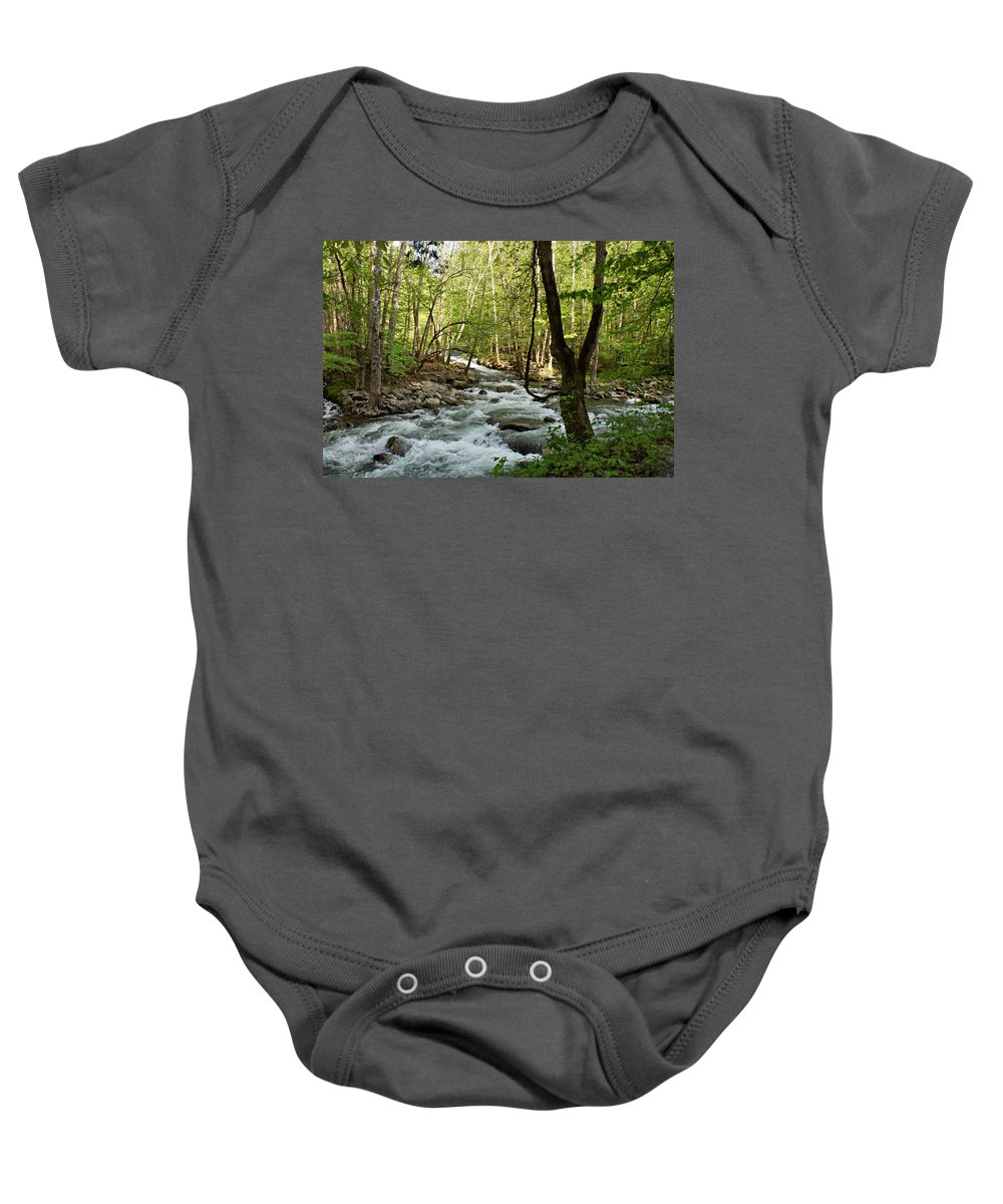 River Baby Onesie featuring the photograph River At Greenbrier by Sandy Keeton