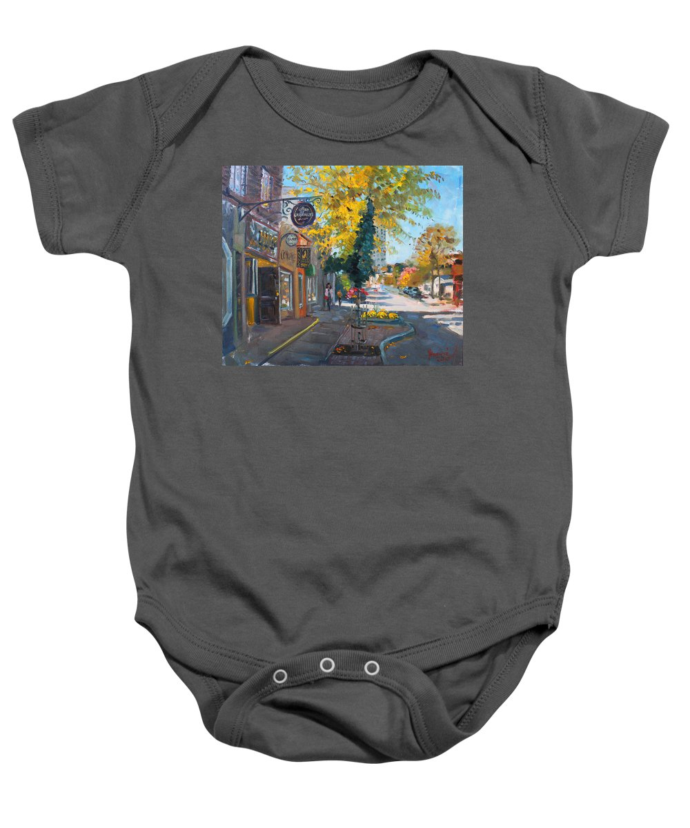 River Coyote Gallery Baby Onesie featuring the painting River Coyote Gallery Mississauga by Ylli Haruni