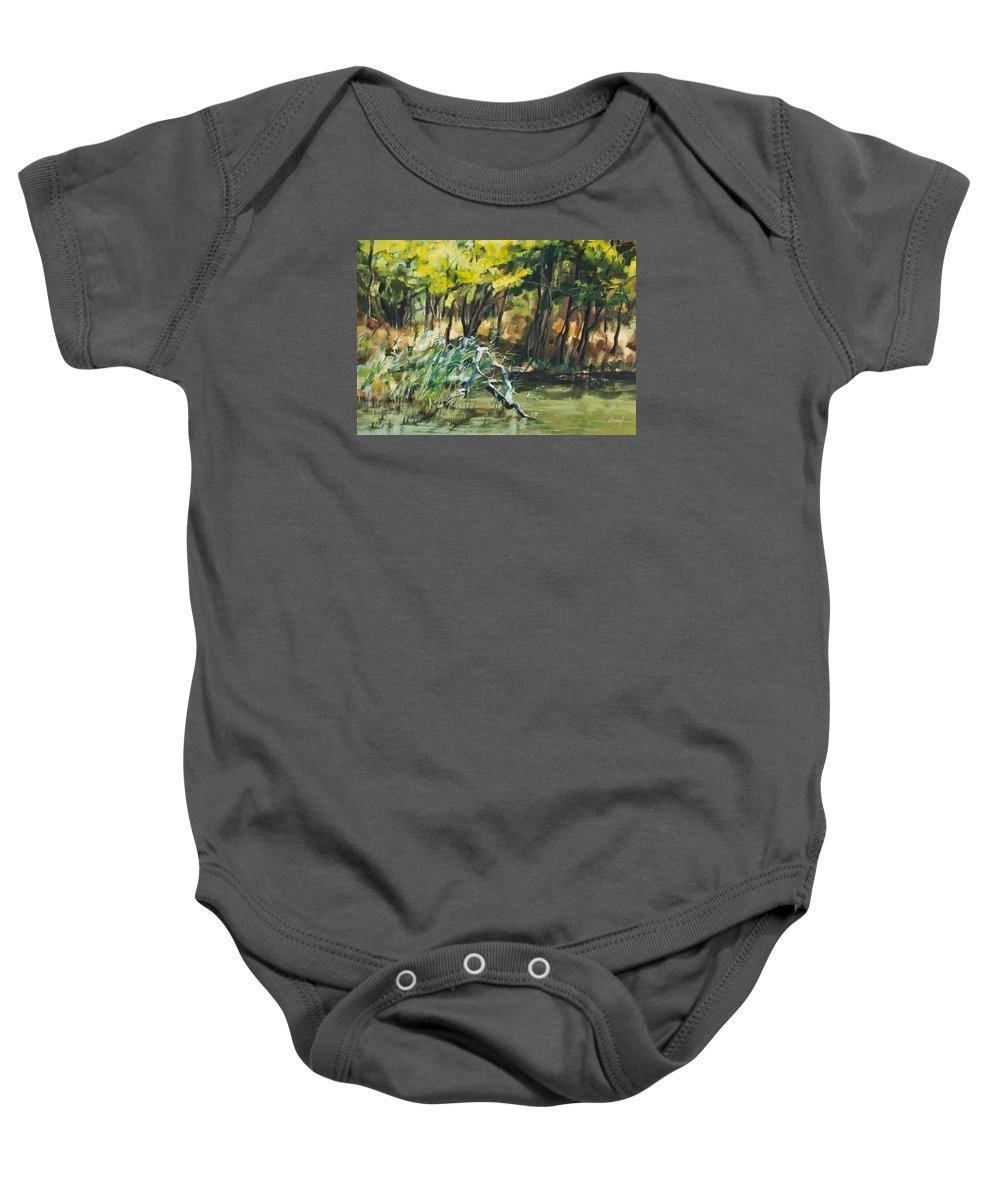 River Baby Onesie featuring the painting River In Summer by Maria Arnaudova