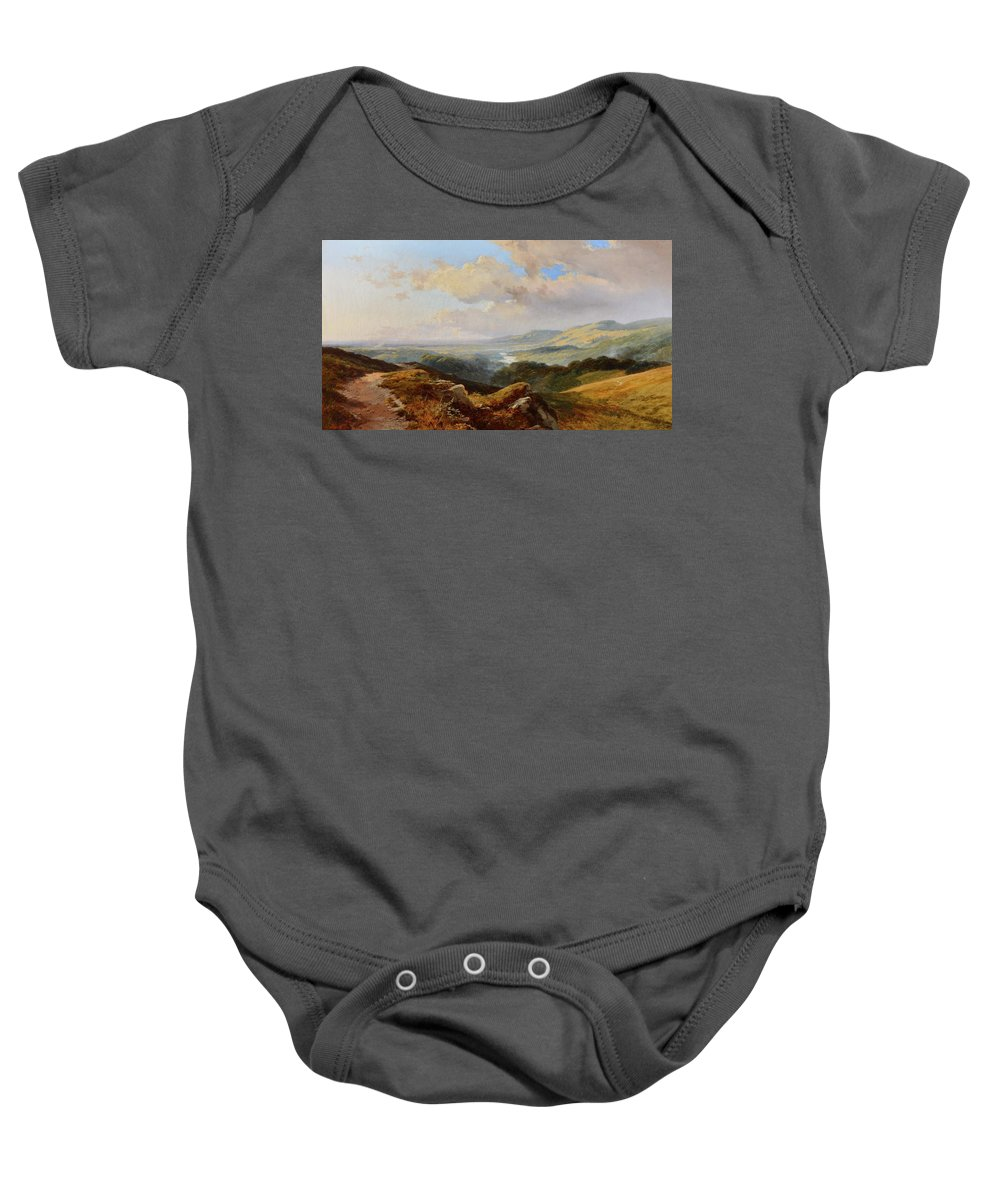 Edward H. Niemann (fl. 1863-1867) An Extensive Mountainous River Landscape Baby Onesie featuring the painting River Landscape by Edward
