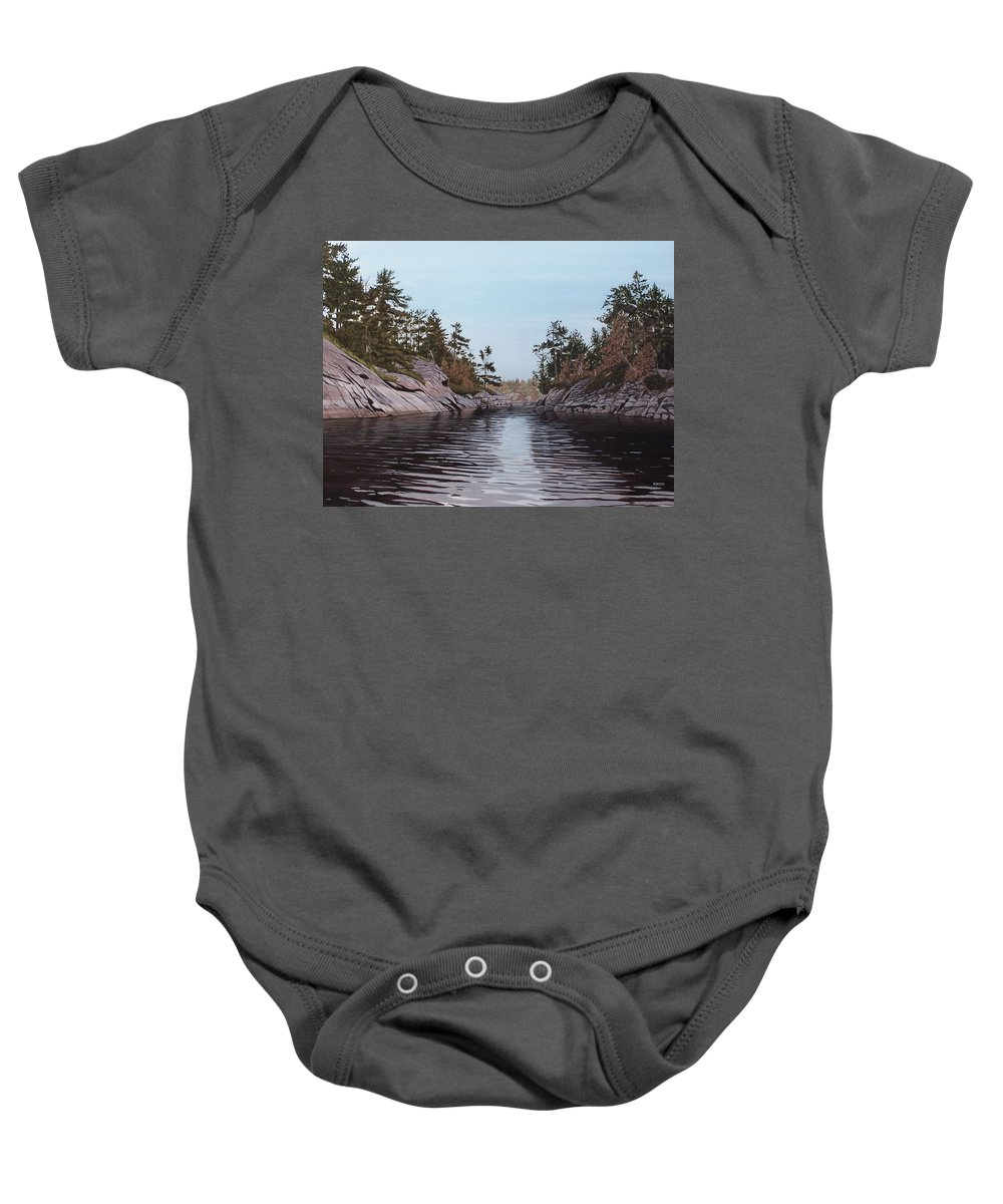 Landscapes Baby Onesie featuring the painting River Narrows by Kenneth M Kirsch