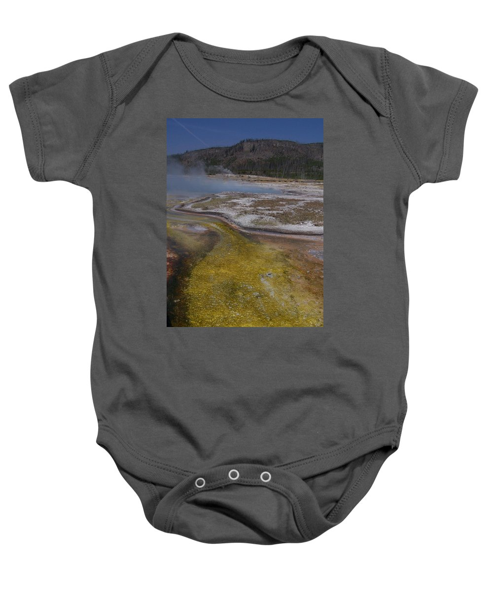 Geyser Baby Onesie featuring the photograph River Of Gold by Gale Cochran-Smith