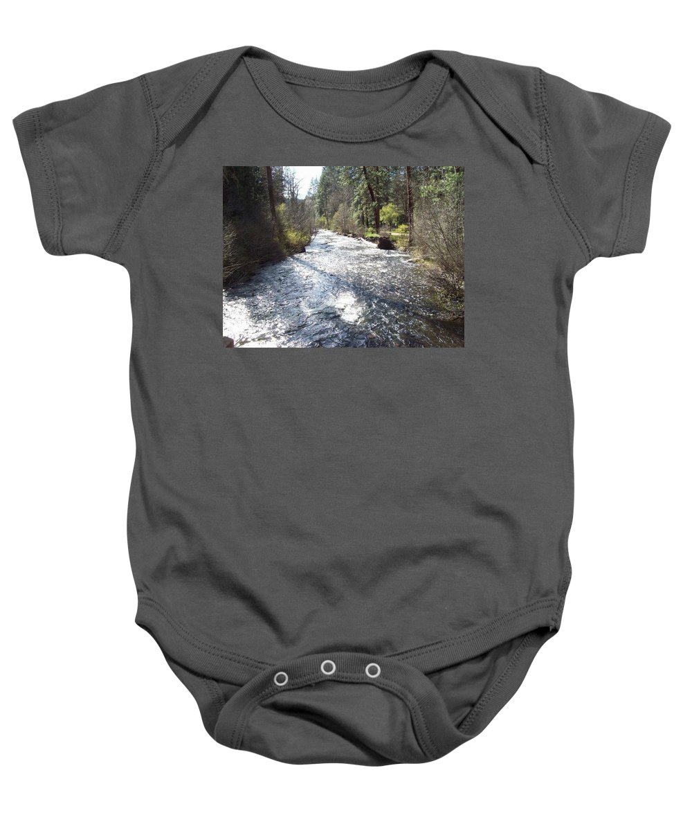 River Baby Onesie featuring the photograph River Runs Through It by Adam Norman