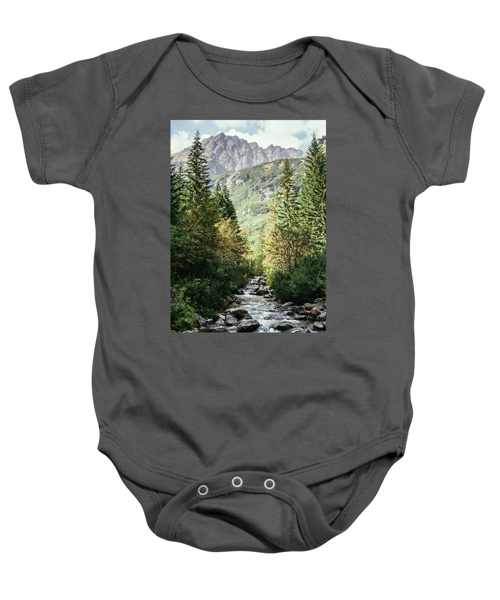 Forest Baby Onesie featuring the photograph River Stream In Mountain Forest by Pati Photography