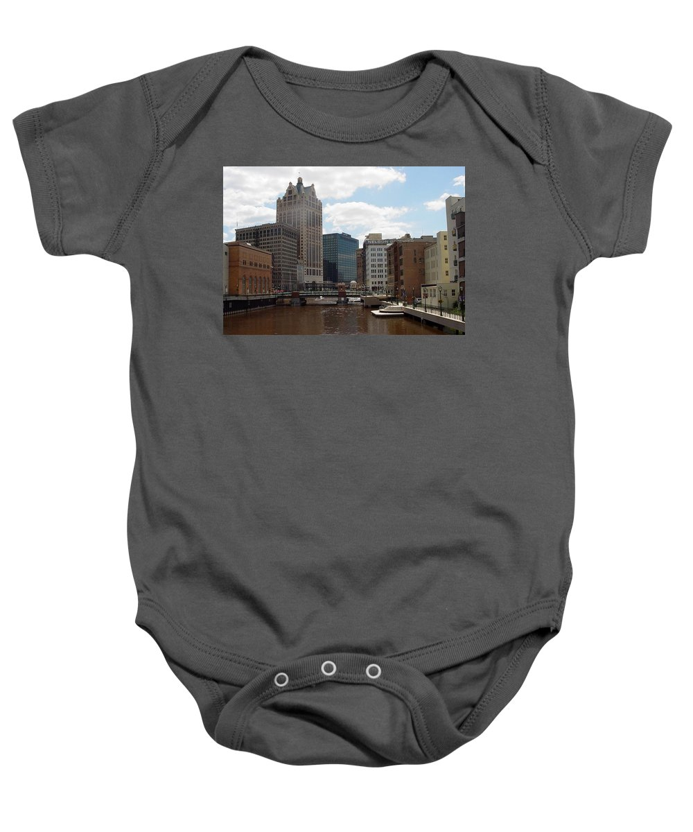 Milwaukee Baby Onesie featuring the photograph River View by Anita Burgermeister