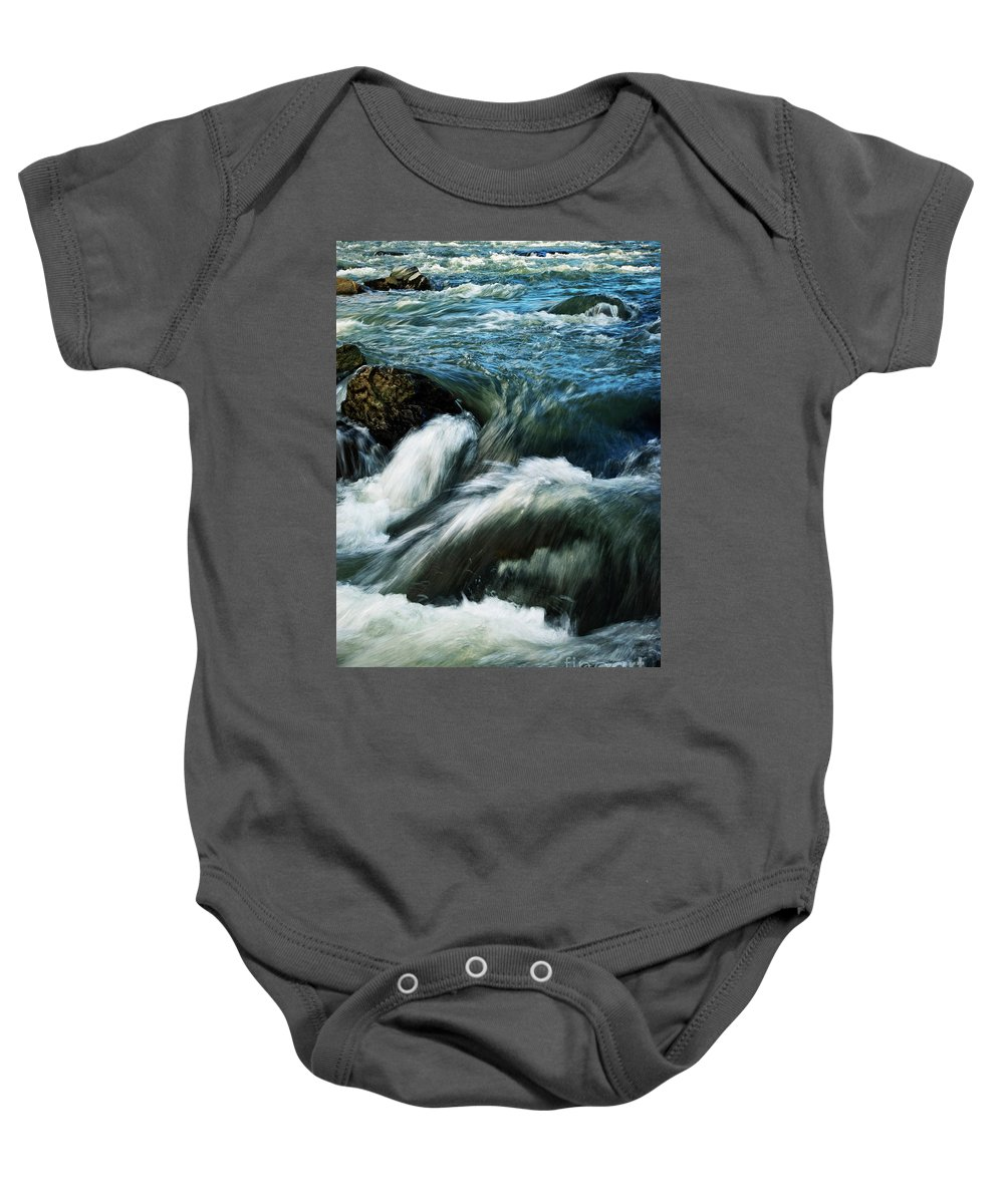 Autumn Baby Onesie featuring the photograph River With Rapids by Jozef Jankola