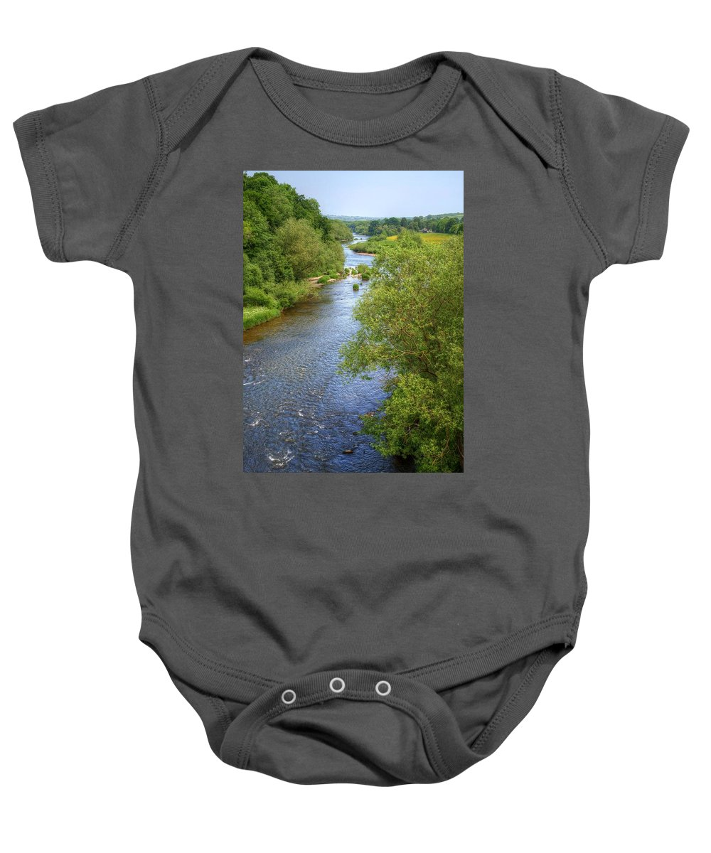 Hay On Wye Baby Onesie featuring the photograph River Wye From Hay-on-wye Bridge by Chris Day