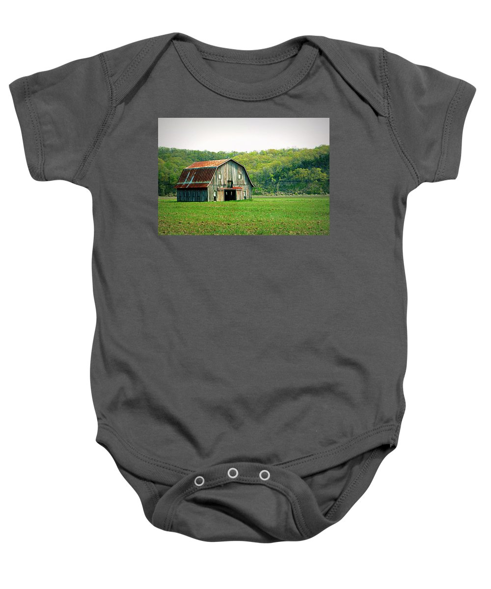 Barn Baby Onesie featuring the photograph Riverbottom Barn In Spring by Cricket Hackmann