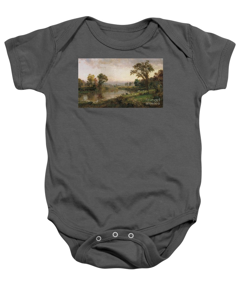 Riverscape - Early Autumn Baby Onesie featuring the painting Riverscape In Early Autumn by Jasper Francis Cropsey
