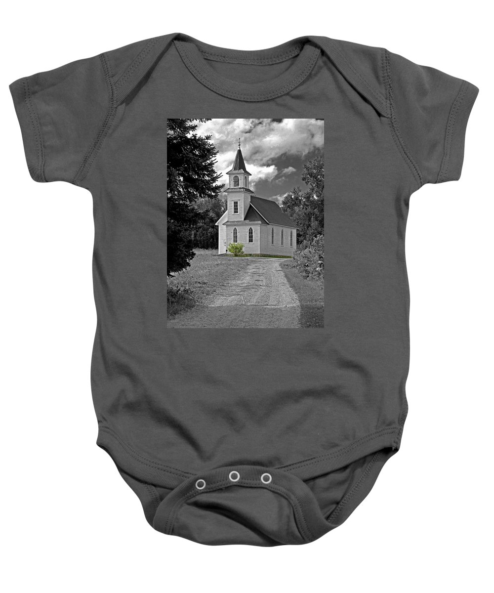Country Church Baby Onesie featuring the photograph Riverside Presbyterian Church 1800s Bw by Mark Sellers