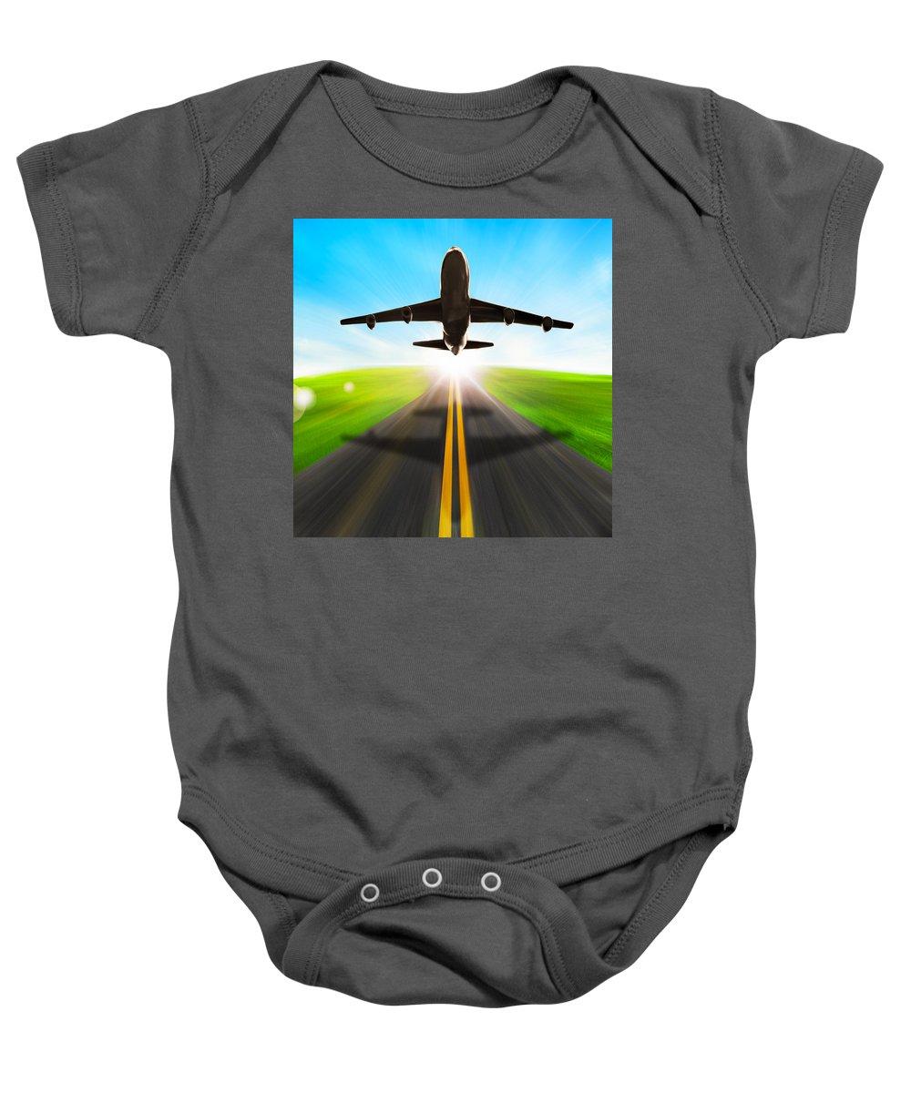 Air Baby Onesie featuring the photograph Road And Plane by Setsiri Silapasuwanchai
