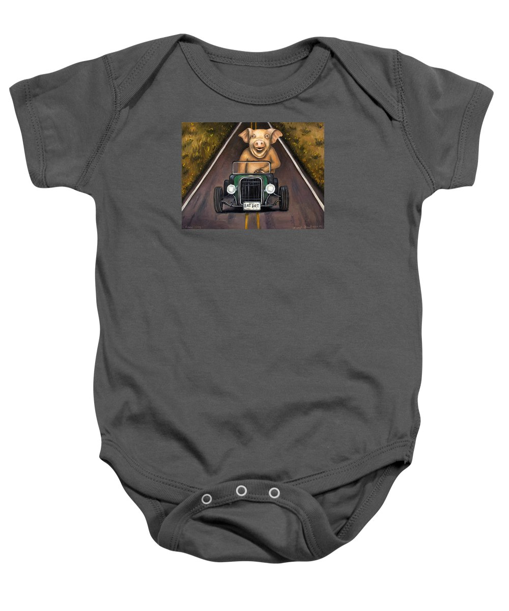 Road Hog Baby Onesie featuring the painting Road Hog by Leah Saulnier The Painting Maniac