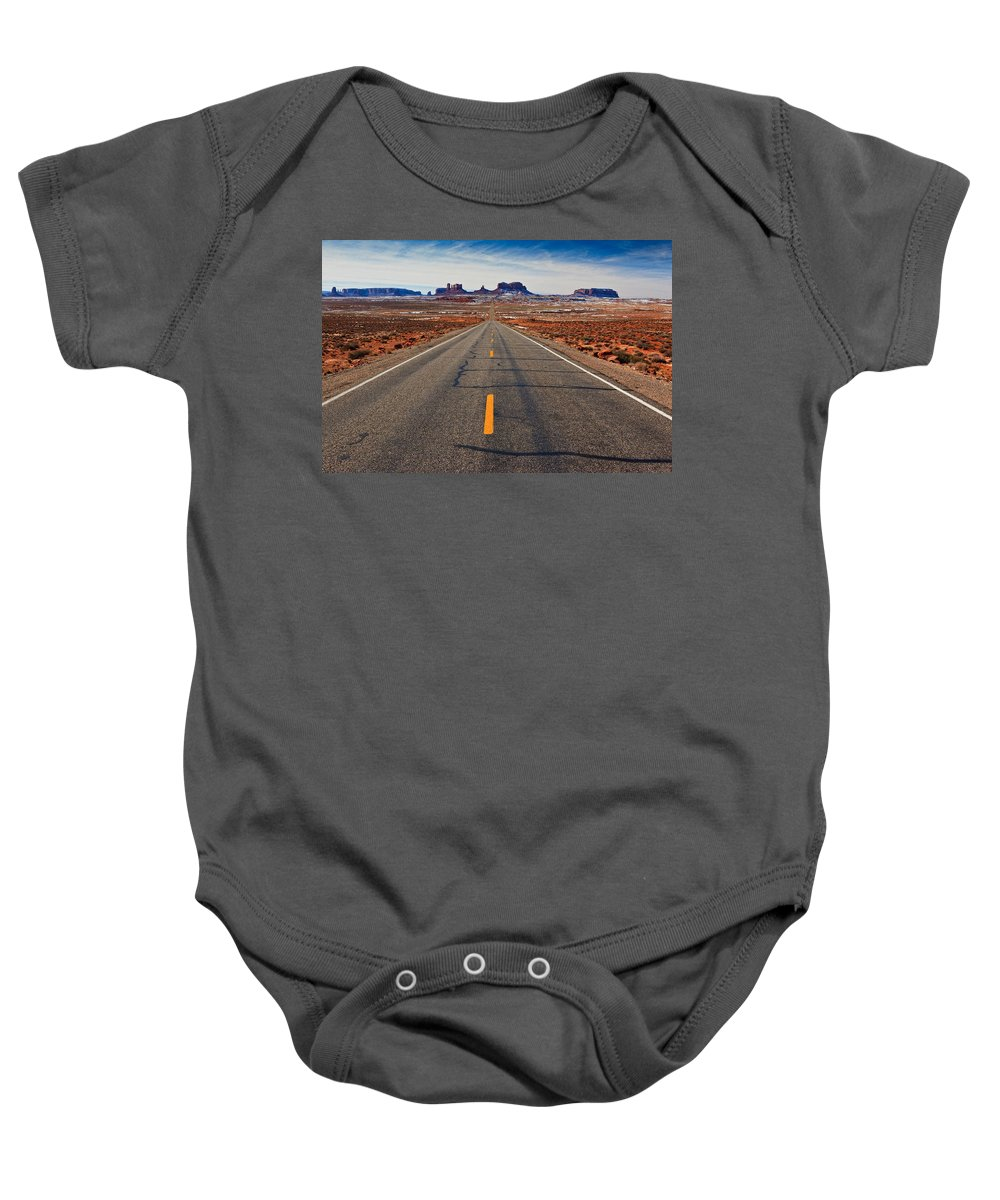 Road Baby Onesie featuring the photograph Road To Monument Valley by Matt Suess