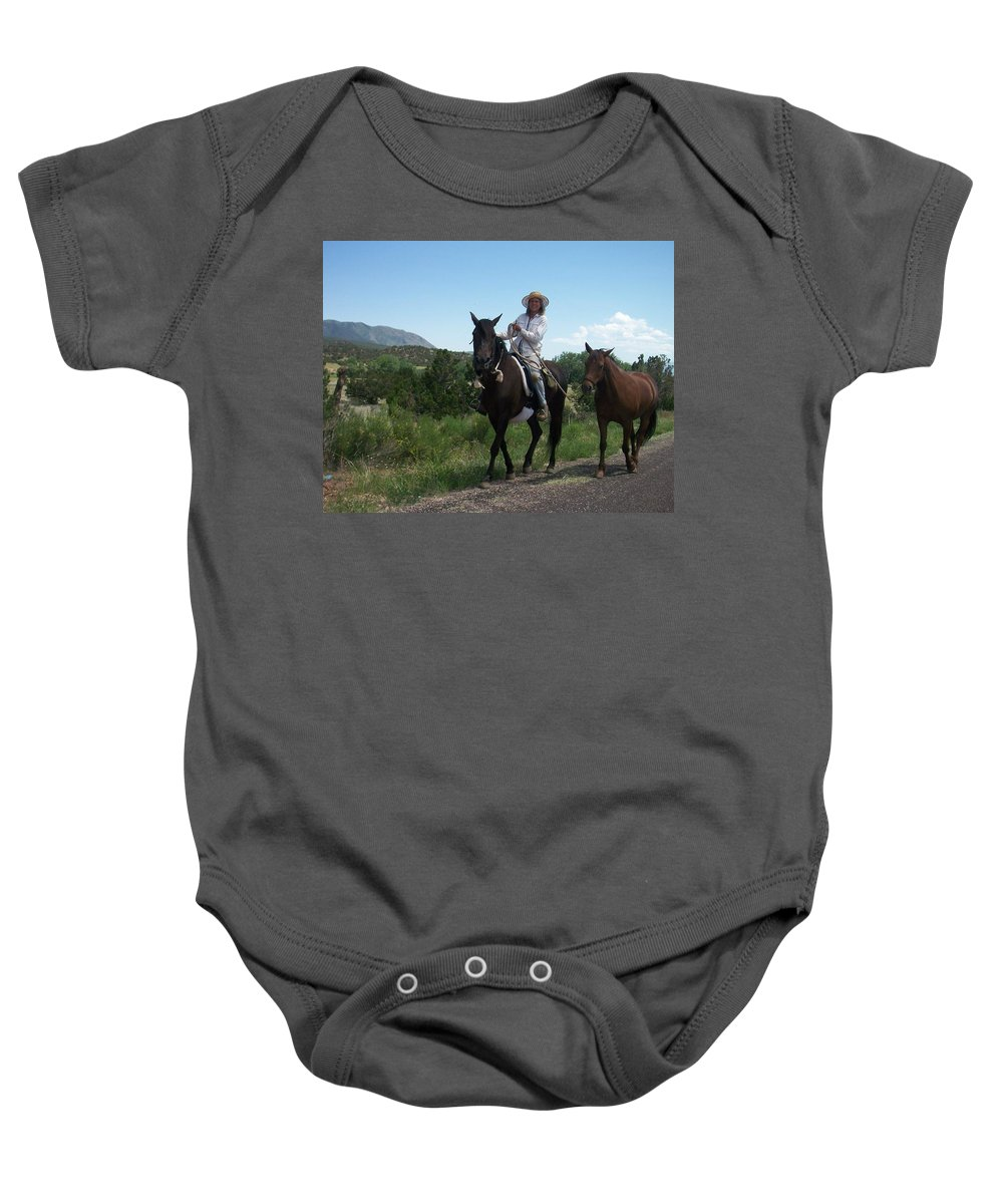 Horses Baby Onesie featuring the photograph Roadside Horses by Anita Burgermeister