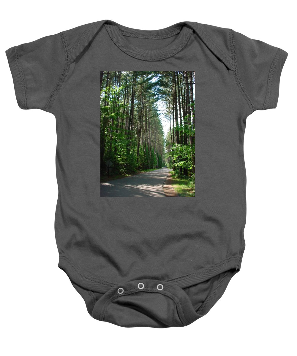 Fish Creek Baby Onesie featuring the photograph Roadway At Fish Creek by Jerrold Carton